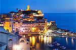 Vernazza at dusk, Cinque Terre, UNESCO World Heritage Site, Liguria, Italy, Mediterranean, Europe