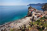 The Beach at Vernazza from the Cinque Terre Coastal Path, Cinque Terre, UNESCO World Heritage Site, Liguria, Italy, Mediterranean, Europe