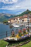 Flower boat, Domaso, Lake Como, Italian Lakes, Lombardy, Italy, Europe
