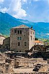 Roman Theater (Teatro Romano) and Fromage tower, Aosta, Aosta Valley, Italian Alps, Italy, Europe