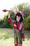 Boy pretending to be an astronaut