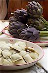 Italian Ravioli pasta with artichoke