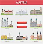 Austria. Symbols of cities. Vector set
