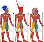 Vector illustration of ancient Egypt Pharaoh three pack.