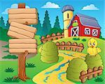 Farm theme with red barn 1 - eps10 vector illustration.