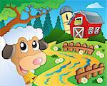 Farm theme with red barn 5 - eps10 vector illustration.