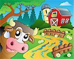Farm theme with red barn 6 - eps10 vector illustration.