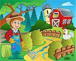 Farm theme with red barn 7 - eps10 vector illustration.