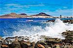 the Atlantic Ocean breaking in the rocks in the coast of Las Palmas de Gran Canaria, Spain
