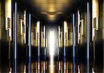 Futuristic perspective hallway modern corridor illuminated