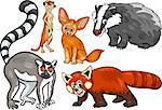 Cartoon Illustration of Funny Wild Animals Characters Set