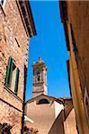 Bell Tower of Church, Castelmuzio, Val d'Orcia, Siena, Tuscany, Italy