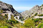 Hairpin Turns on Road through Mountains, Majorca, Balearic Islands, Spain