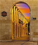Spain, Vitoria-Gastiez, VAlleywayilluminated at night