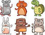 Cartoon Illustration of Cute Pets Animals Characters