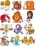 Cartoon Illustration of All Horoscope Zodiac Signs Set