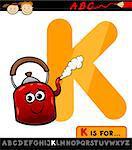 Cartoon Illustration of Capital Letter K from Alphabet with Kettle for Children Education