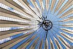 Futuristic roof at Sony Center, Potsdamer Platz, Berlin, Germany.