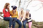 Four teenage girls sitting on top of tree trunk