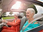 Senior women driving in convertible