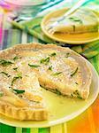 Pear,agar-agar,lemon zests and rice honey tart