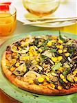 Arame,onion,zucchini,sweet corn and fennel pizza
