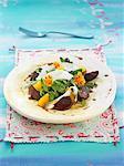 Eel,duck gizzard,rocket lettuce,orange and edible flower salad