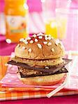 Pear and chocolate brioche burger