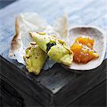 Chicken and Massalé turnovers with mango chutney