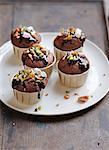 Chocolate, caramel, pistachio and marshmallow cupcakes