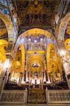 Gold mosaics in the Palatine Chapel (Royal Chapel) at the Royal Palace of Palermo (Palazzo Reale), Palermo, Sicily, Italy,Europe