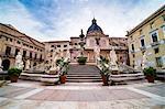 Pretoria Fountain in Piazza Pretoria (Pretoria Square) with dome of Church of Santa Caterina, Palermo, Sicily, Italy, Europe