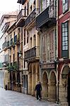 Traditional architecture in Calle La Ferreria in Aviles, Asturias, Northern Spain