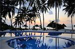 Reflection of palm trees in swimming pool at sunrise, Bwejuu Beach, Zanzibar, Tanzania, Indian Ocean, East Africa, Africa