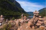 Rock Balancing formations, Hautes-Gorges-de-la-Riviére-Malbaie National Park, Charlevoix, Quebec, Canada