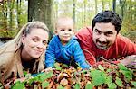 Family with one child in autumn, Osijek, Croatia