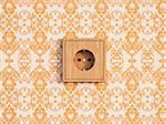 Digital Illustration of Wooden Socket on Wall with Wallpaper
