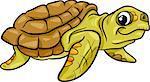 Cartoon Illustration of Sea Turtle Reptile Animal