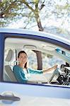 Portrait of smiling woman inside car