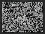 Blackboard Doodle Birthday party background