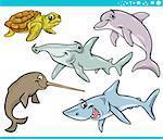 Cartoon Illustration of Sea Life Animals Set