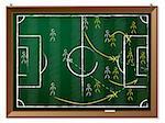 Soccer tactics drawn on blackboard with chalk