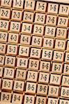 Set of Multiplication Problems on Wooden Blocks, Studio Shot