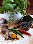 Basil rosemary bay leaf black pepper corns chillies nutmeg turmeric garlic cloves cinnamon