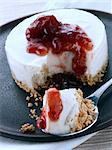 Individual portion of vegan cheesecake