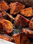 Roast potatoes and sweet potatoes