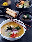 Noodles spring rolls salad