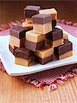 A pile of chocolate peanut fudge