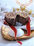 UK Christmas cake on a cake stand
