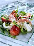 Burrito prosciutto ham and peach salad